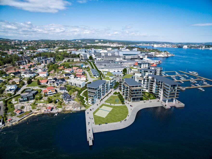 Oversiktsbilde nye Lumber industriområde Skeie eiendom og Magna prosjekt sør